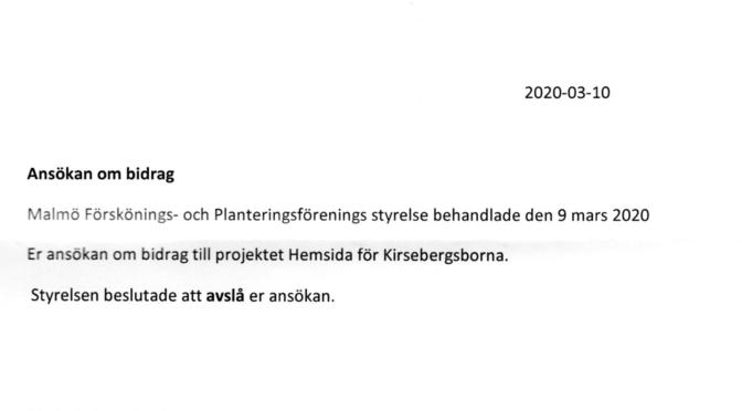 Avslag på kulturbidrag från Malmö Förskönings- och planteringsförening 2020